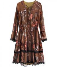 Dámske šifonové šaty MODA452 hnedé