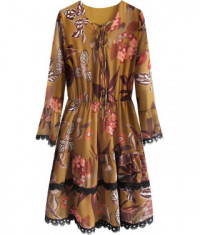 Dámske šifonové šaty MODA452 horčicové