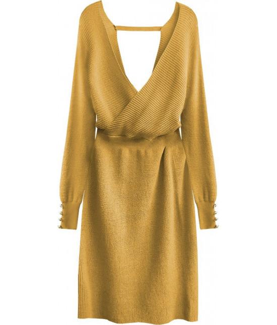 Dámske pletené šaty MODA457 horčicové