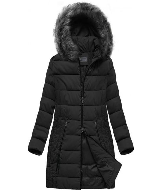 Dámska dlhá zimná bunda s kapucňou MODA502 čierna