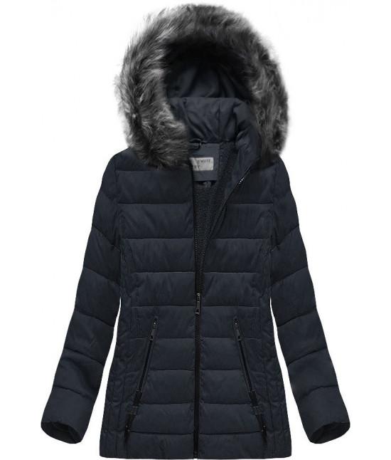 Prešívaná dámska zimná bunda MODA505 tmavomodrá