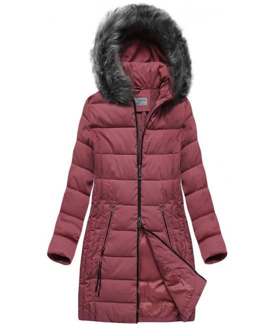 Dámska dlhá zimná bunda s kapucňou MODA502 tmavoružová