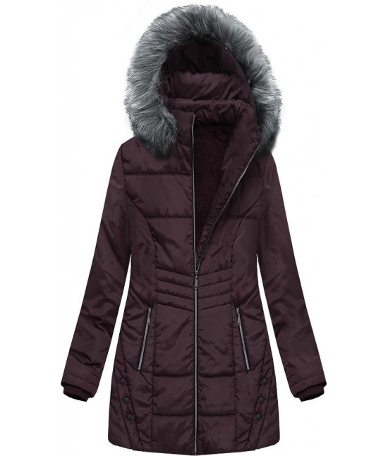 Dámska zimná bunda s kapucňou MODA625 tmavofialová