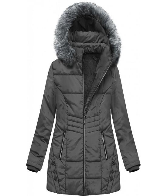 Dámska zimná bunda s kapucňou MODA625 tmavošedá