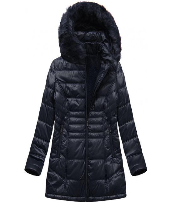 Prešívaná dámska zimná bunda MODA2617 tmavomodrá