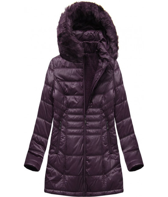 Prešívaná dámska zimná bunda MODA2617 tmavofialová