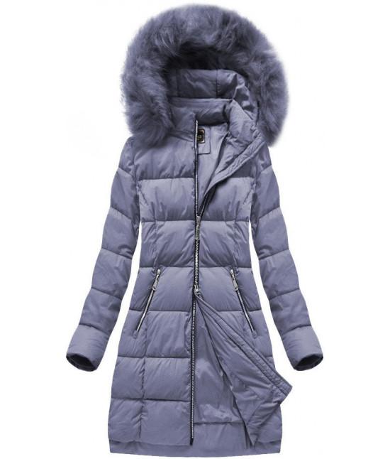 Dámska dlhá zimná bunda MODA702BIG šedo-fialová veľkosť 4XL
