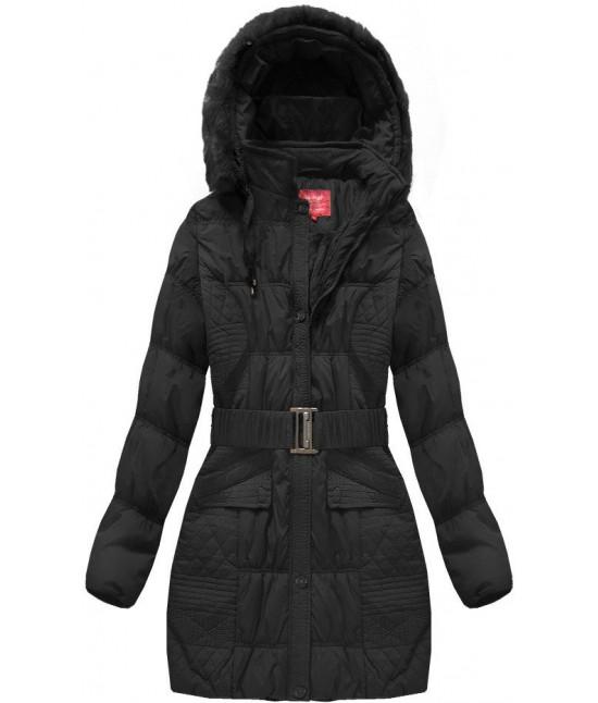 Dámska zimná bunda s opaskom MODA610 čierna veľkosť 4XL
