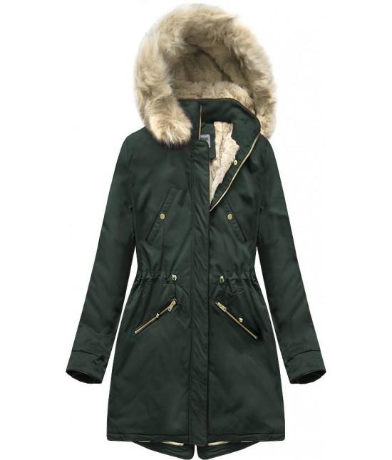 Teplá dámska zimná bunda parka MODA2623 tmavozelená