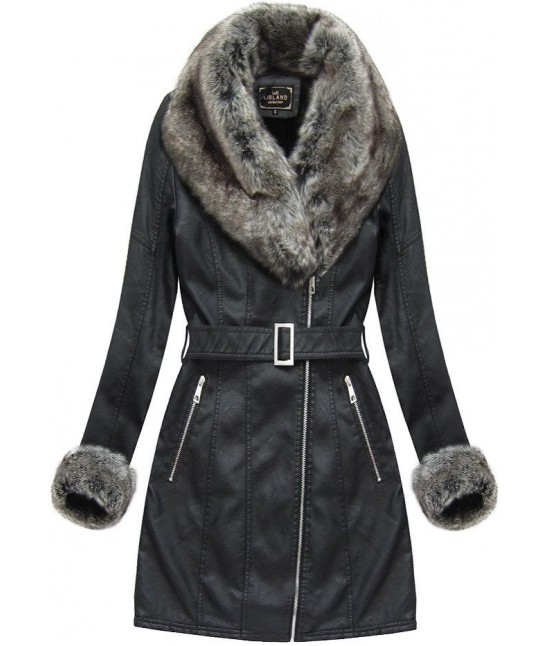 Dámska zimná koženková bunda 5524BIG čierna veľkosť 5XL