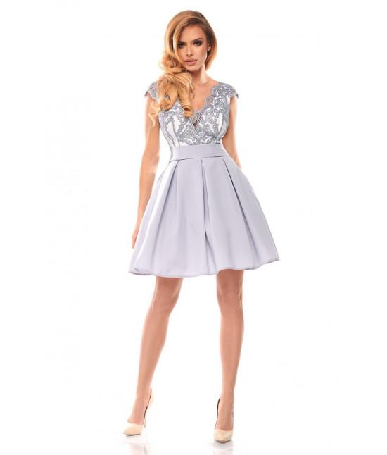 Dámske spoločenské šaty MODA139 šedé 40