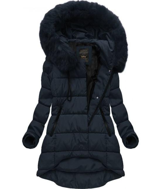 Asymetrická dámska zimná bunda MODA670 tmavomodrá