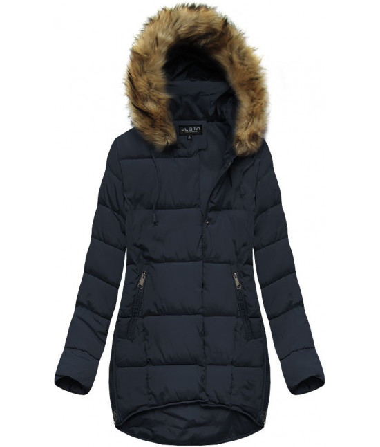 Dámska zimná bunda s kapucňou MODA859X tmavomodrá