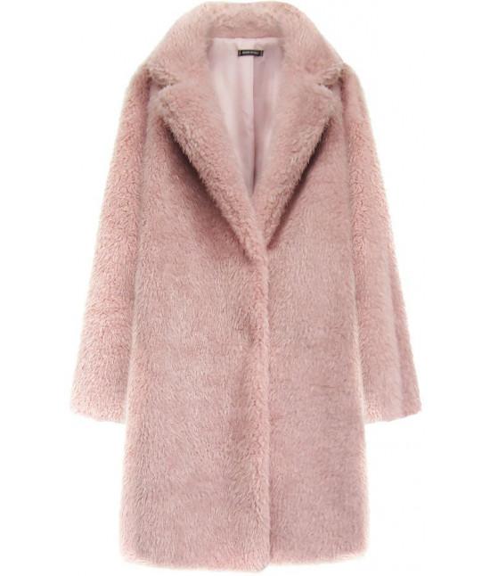 Dámsky kožušinový kabát MODA461 ružový