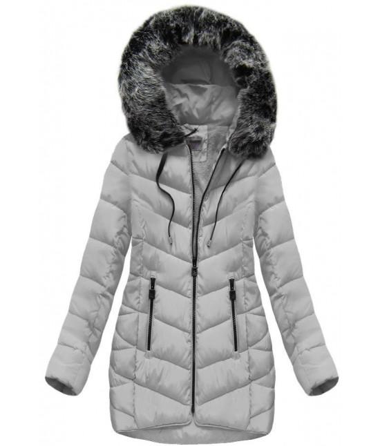 Dámska zimná bunda s kapucňou MODA039 šedá XL