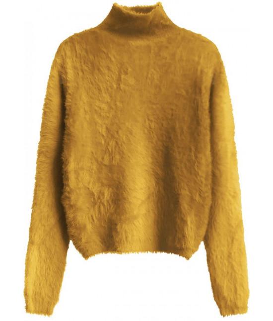 Krátky dámsky sveter MODA466 horčicový