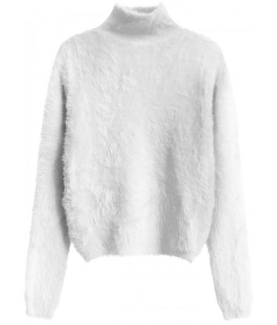 Krátky dámsky sveter MODA466 biely