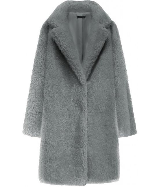Dámsky kožušinový kabát MODA461 šedý