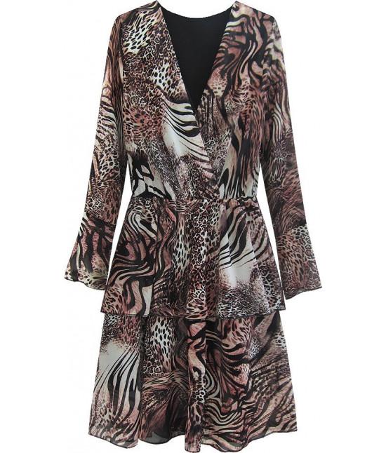 Dámske šaty z prekladaným dekoltom MODA454/5 hnedé
