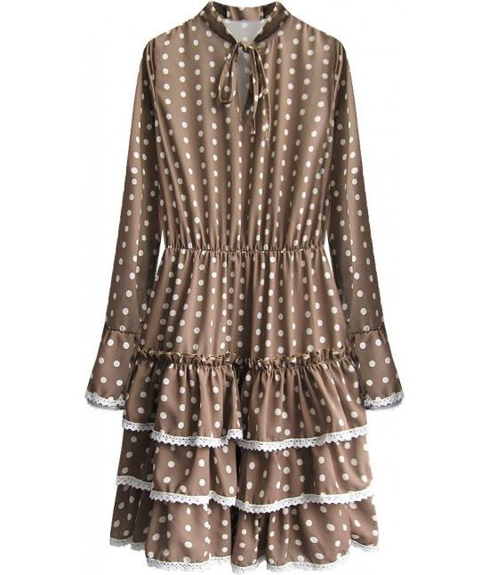 Dámske šaty s dlhým rukávom MODA472 hnedé
