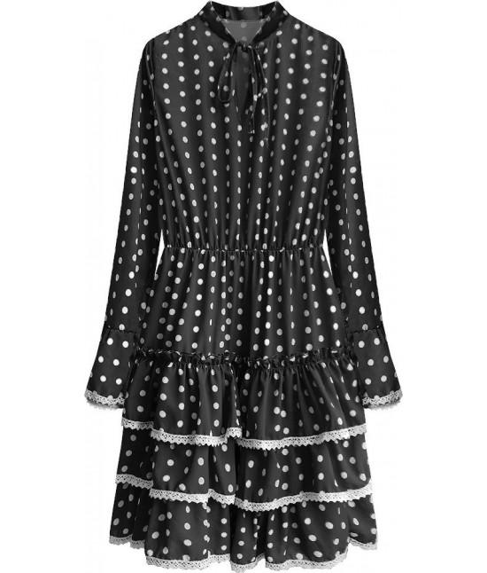 Dámske šaty s dlhým rukávom MODA472 čierne