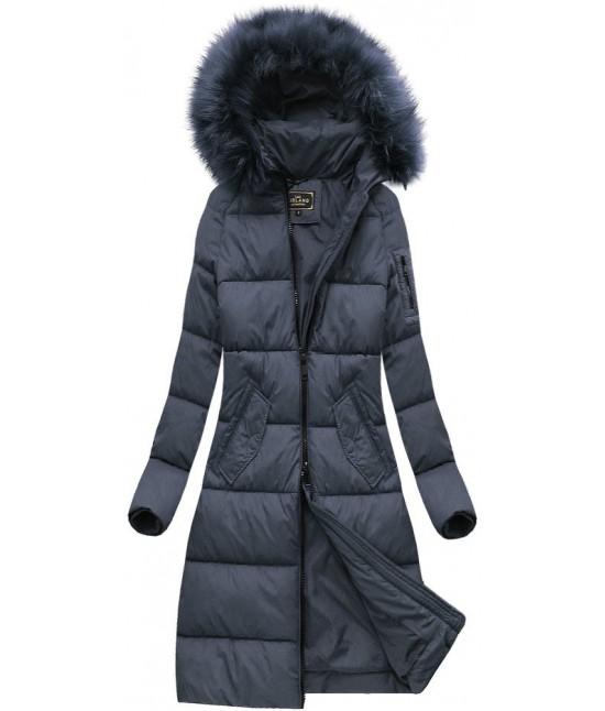 Dámska dlhá zimná bunda MODA751 modrá veľkosť XXL