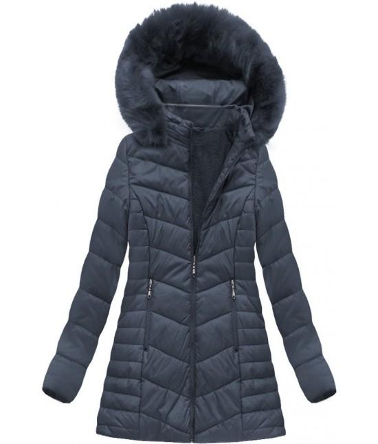 Dámska zimná bunda MODA021-30 BIG modrá veľkosť 4XL