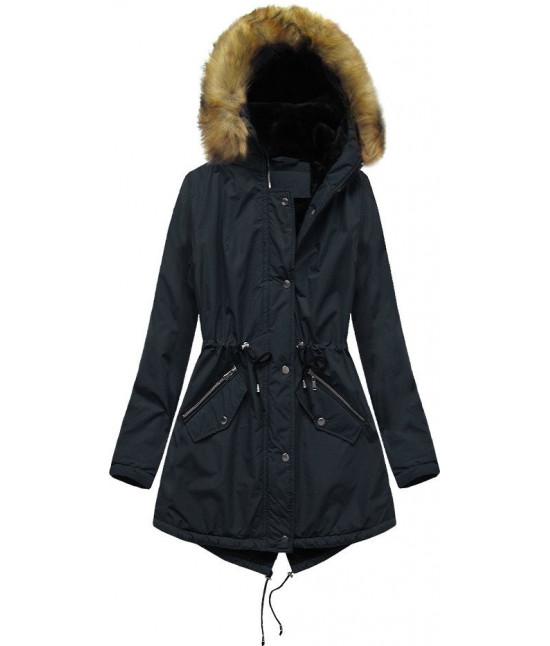 Dámska zimná bunda typu parka MODA628 tmavomodrá veľkosť 3XL