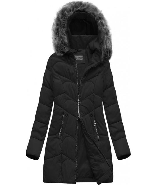 Dámska prešívaná zimná bunda s kapucňou MODA643 čierna veľkosť XL