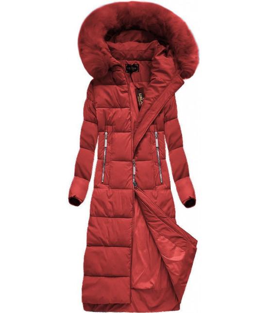 Dlhá dámska zimná bunda MODA688 červená veľkosť XL