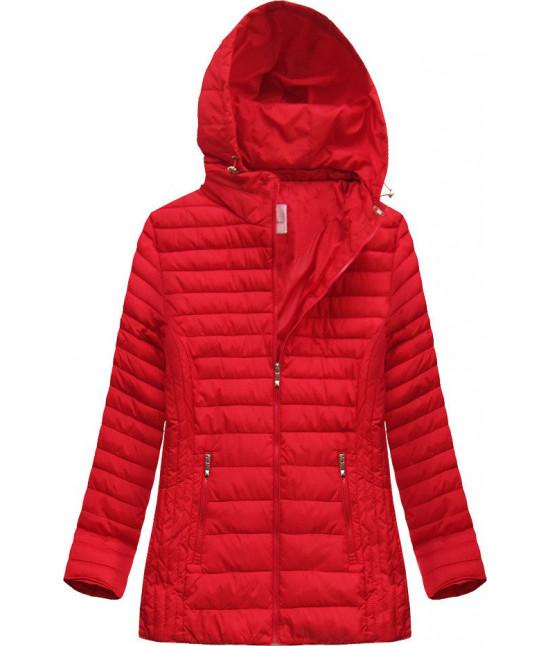 Prešívaná dámska prechodná bunda MODA262BIG červená veľkosť 6XL