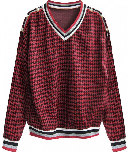 Dámska bavlnená mikina MODA463 čierno-červená