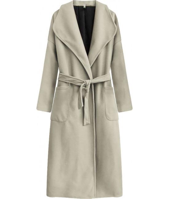 Dámsky dlhý jarný kabát MODA981 bežový