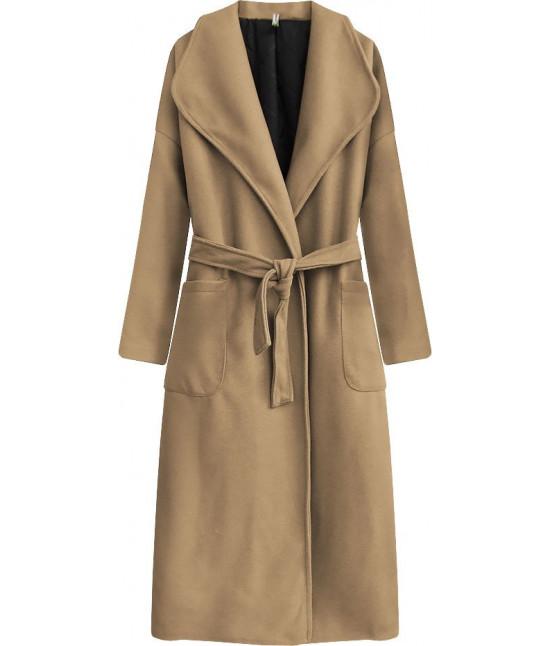 Dámsky dlhý jarný kabát MODA981 karamelový