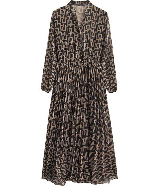 Šifónové dámske šaty MODA462 čierno-béžové