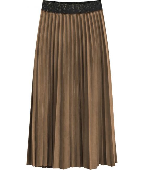 Dámska plisovaná sukňa MODA464 karamelová