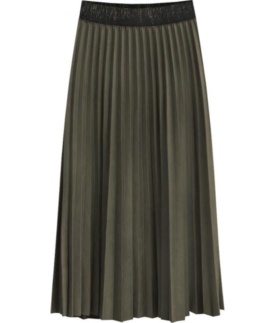 Dámska plisovaná sukňa MODA464 tmavohnedá