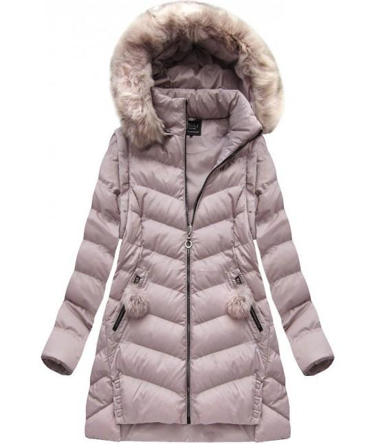 Dámska zimná bunda MODA761BIG púdrová veľkoť 3XL