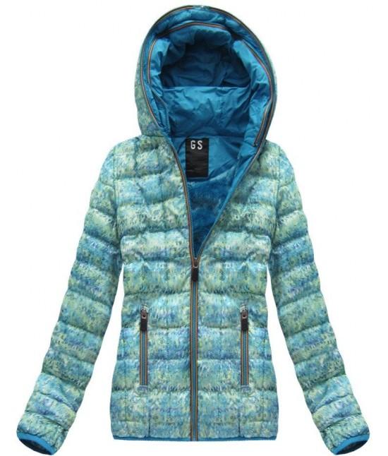 Dámska zimná bunda MODA01 zeleno modrá veľkosť XXL