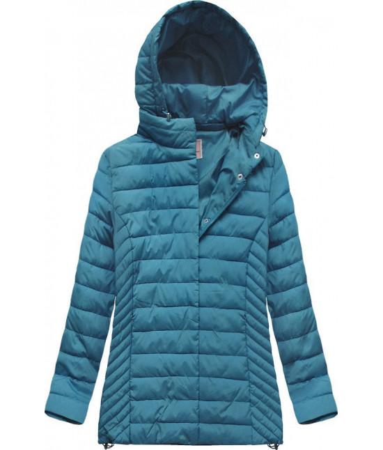 Prešívaná dámska prechodná bunda MODA260BIG modrá veľkosť XXL