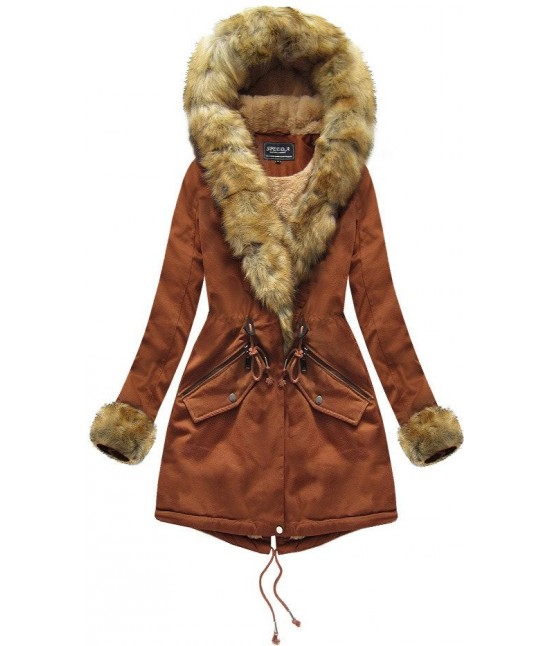 Bavlnená dámska zimná bunda MODA801BIG karamelová 4XL