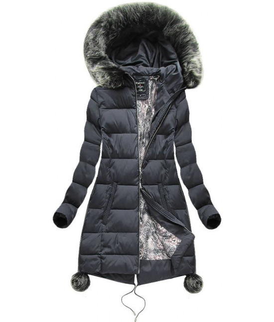 Dámska zimná bunda MODA739 tmavošedá veľkosť 5XL