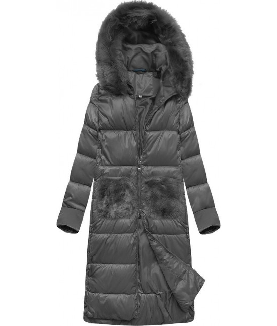 Dlhá dámska zimná bunda s kapucňou MODA231 tmavošedá XL