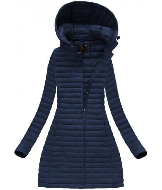 Dlhá dámska prechodná bunda MODA7222BIG modrá veľkosť 5XL