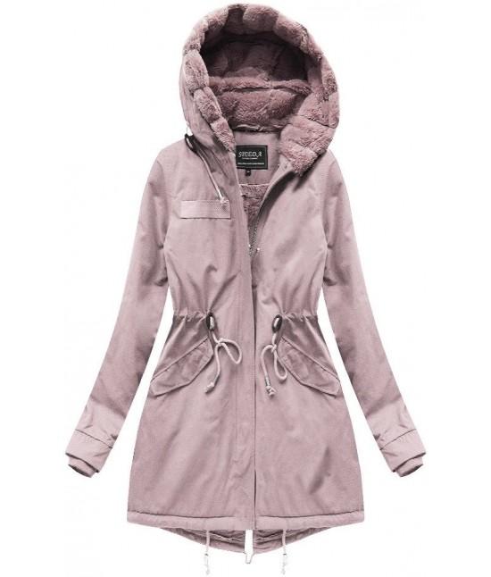 Teplá zimná bunda parka MODA806 ružová veľkosť L