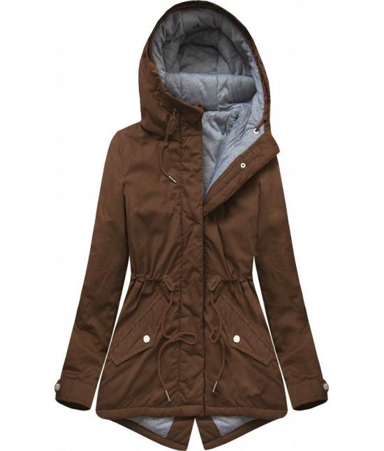 Dámska prechodná bunda, parka MODA664 hnedá veľkosť S