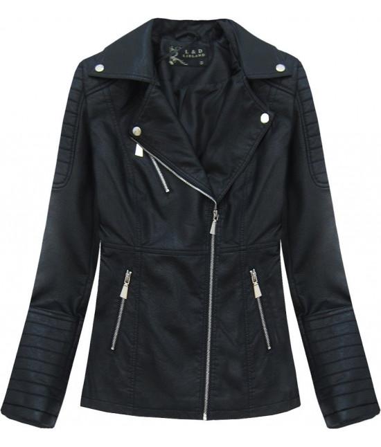 Dámska koženková bunda MODA248 čierna S