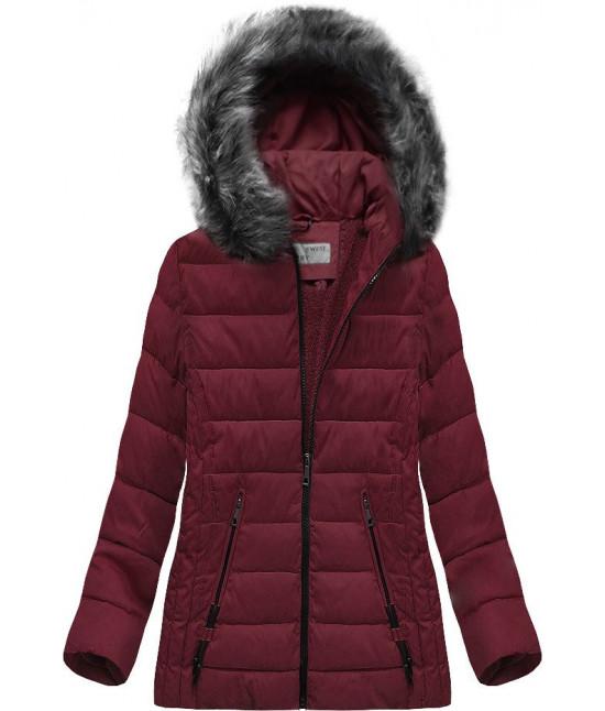 Prešívaná dámska zimná bunda MODA505 bordová veľkosť 4XL