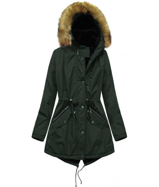 Dámska zimná bunda typu parka MODA628 tmavozelená 6XL
