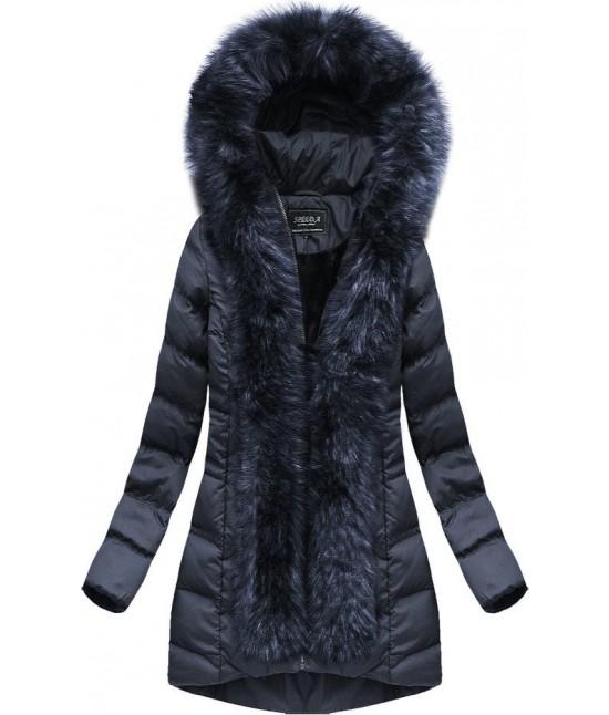 Dámska zimná bunda s kožušinou MODA749 modrá veľkosť M